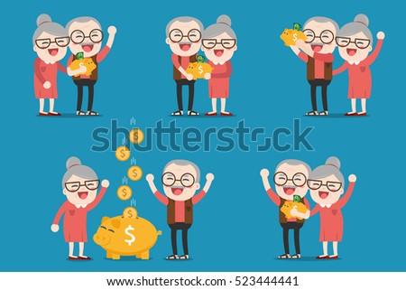 Senior people with golden piggy bank, Pension