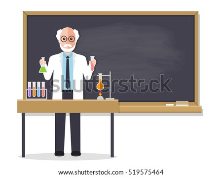 Senior science teacher, scientist professor standing in front of blackboard teaching student in classroom at school, college or university. Flat design people characters.