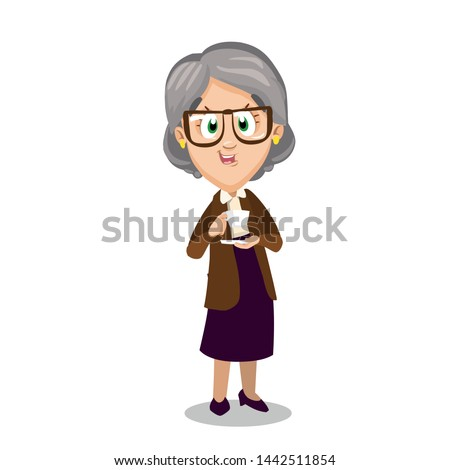 Senior spectacled lady standing and holding cup of tea in hands. Smiling silver haired granny in knitted jacket and skirt drinking coffee. Vector cartoon illustration isolated on white background.