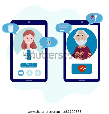 Senior talking by mobile phone with a doctor online from home. Concept of telemedicine, medical treatment, consultation service during pandemic. Doctor with old patient meet online.