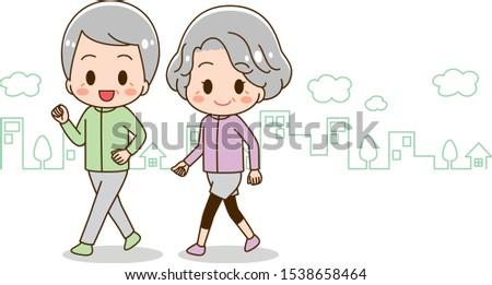 Senior woman and senior man walking illustration set