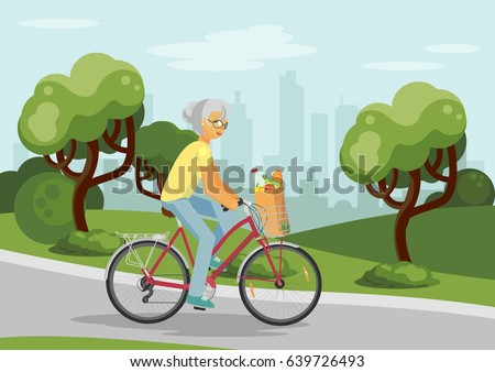 senior woman on bike in the