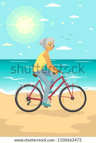 Senior woman on bike with basket. Elderly woman cycling on the summer sea beach. Healthy lifestyle, sport, transportation concept vector illustration.