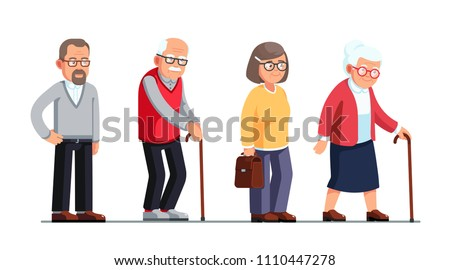Senior women and men standing and walking with sticks. Elderly people cartoon characters set. Old age. Flat style vector illustration isolated on white background