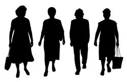 Senior women walking silhouettes illustration