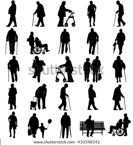 Seniors mature persons in walking pose, old people active life. Old man persons walking with stick. Vector characters isolated on white background. Group of grandpa and grandmother vector silhouette.