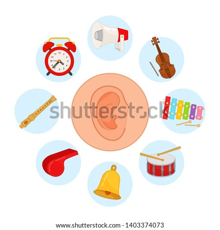 sense organs. Hearing. Vector illustration.