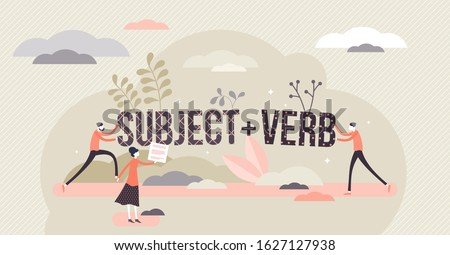 Sentence structure with subject and verb, flat tiny persons concept vector illustration. Learning language grammar and identifying word types. Writing and speaking principles, school study process. Foto stock ©