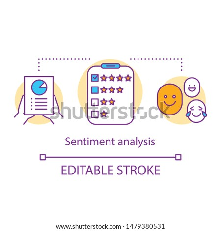 Sentiment analysis concept icon. Client satisfaction survey idea thin line illustration. Customer reviews, feedback. Service rating. Content analysis. Vector isolated outline drawing. Editable stroke Foto d'archivio ©