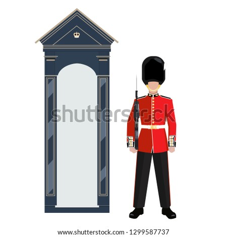 Sentry of The Grenadier Guards outside Buckingham Palace. A soldier in a red uniform and Bearskin cap is holding a gun. GREN GDS - one of the symbols of London, capital of Great Britain. Color vector.