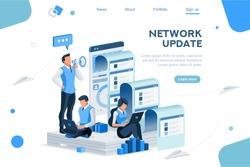 Seo Agency Blog for Communicate with Loudspeaker symbol or Megaphone as Media Management Message. Digital Marketing, Social Press for Teams. Flat Isometric Concept Social Media Vector Illustration.