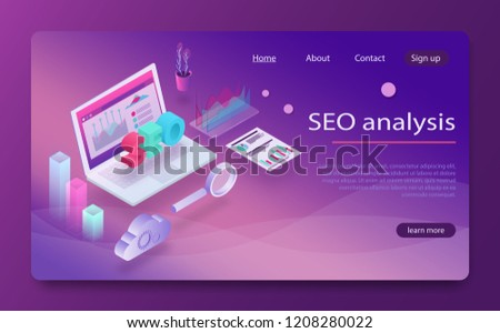 Seo analysis and optimization, seo strategies marketing concept. Data analytics platform isometric vector. Seo optimization, website pay per click concept. laptop with paper bill magnifying glass