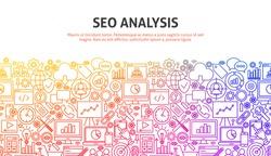 SEO Analysis Concept. Vector Illustration of Line Web Design. Banner Template.