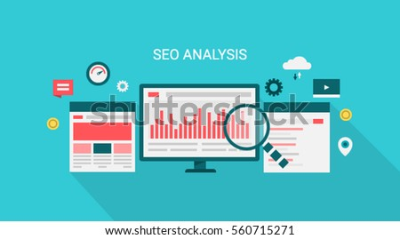 Seo analysis, website analysis flat banner concept, website optimization, data research, icons flat vector illustration