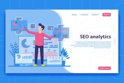 SEO analytics landing page. Search engine optimization analysis concept. IT specialist works with analytic web pages with charts. Vector illustration.