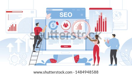 Seo Analytics Team It Specialists with Magnifier Glass and Tablet Working Around Analytic Web Pages with Charts. Search Engine Optimization Analysis Smart Technologies Cartoon Flat Vector Illustration