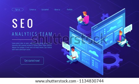 SEO analytics team landing page. IT specialists with laptops working around analytic web pages with charts. Search engine optimization analysis concept on ultraviolet background Vector 3d illustration