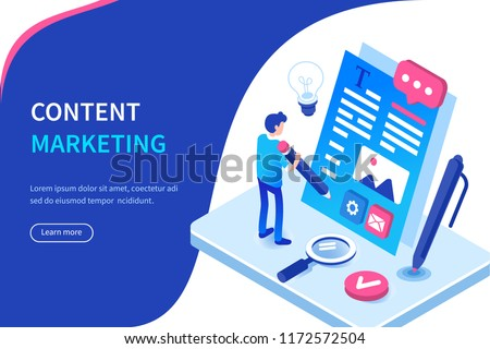 Seo and content marketing banner with character. Can use for web banner, infographics, hero images. Flat isometric vector illustration isolated on white background.