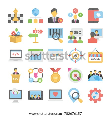 seo and digital marketing flat