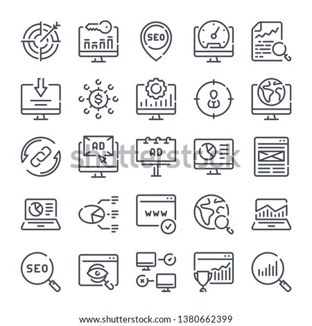 Seo and Marketing related line icon set. Search Engine Optimization linear icons. Data organization and Development outline vector sign collection.