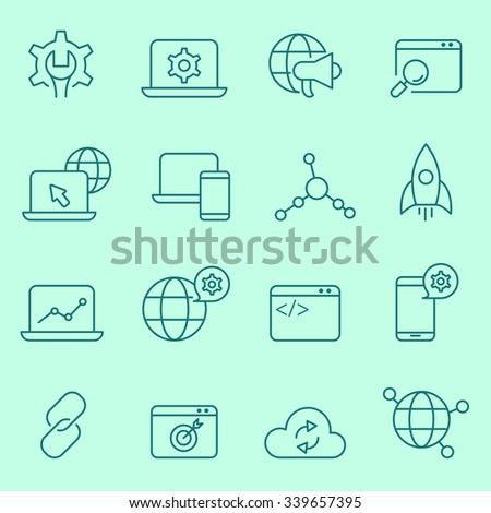 seo and web development icon set, thin line design