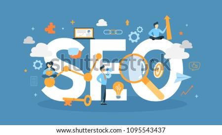 SEO concept illustration. Idea of search engine.
