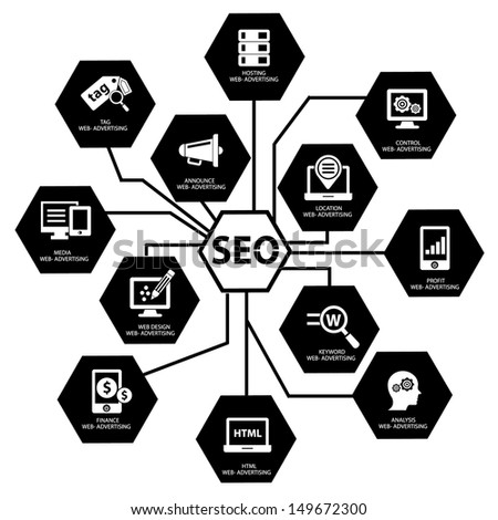 Seo concept on white background,Black version,vector