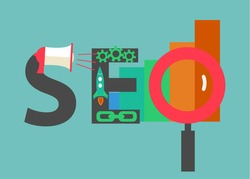 SEO concept. Word SEO consisting of flat icons representing successful search engine optimisation process, vector illustration