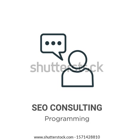 Seo consulting outline vector icon. Thin line black seo consulting icon, flat vector simple element illustration from editable seo concept isolated on white background