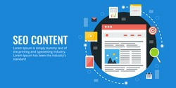 Seo content, content search optimization, digital content marketing flat vector illustration with icons