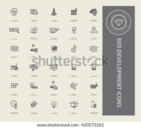 SEO development icon set,vector