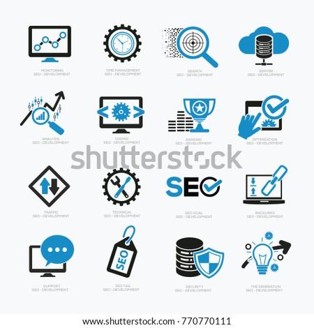 SEO Development icon set,vector