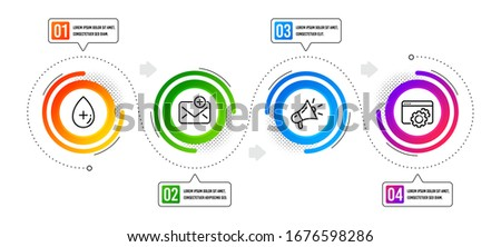 Seo gear, Megaphone and New mail line icons set. Infographic timeline. Oil serum sign. Settings, Brand advertisement, Add e-mail. Cosmetic care. Business set. Options banner with seo gear icon. Vector ストックフォト ©