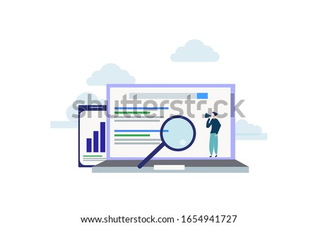 SEO growth. Search engine ranking illustration concept for web landing page template, banner, flyer and presentation