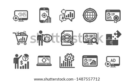 Seo icons. Increase sales, Business strategy and Search optimization. Analytics classic icon set. Quality set. Vector