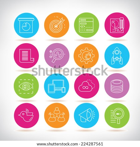 seo icons, web analytics icons, network icons, colorful circle buttons set