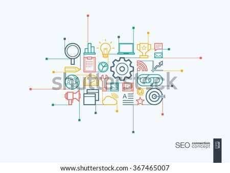 SEO integrated thin line symbols. Modern linear style vector concept, with connected flat design icons. Abstract background illustration for digital network, analytics, social media and market concept ストックフォト ©