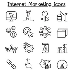 SEO & internet marketing icon set in thin line style