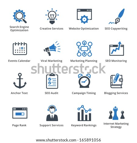 SEO & Internet Marketing Icons - Set 5 | Blue Series
