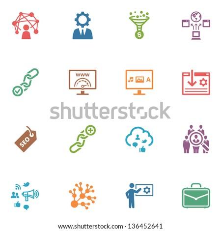 SEO & Internet Marketing Icons - Set 2 | Colored Series