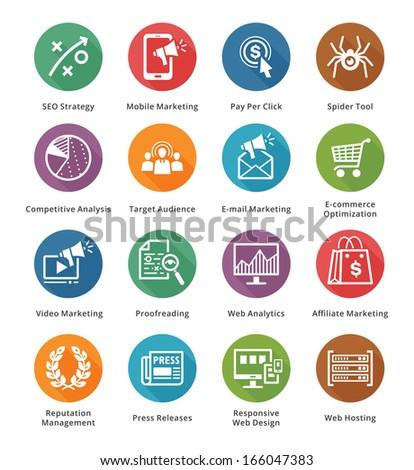 SEO & Internet Marketing Icons - Set 3 | Long Shadow Series
