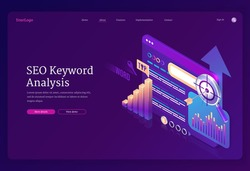 SEO keyword analysis banner. Research and analytics of search engine optimization of content. Vector landing page with isometric graphs, text on tablet screen and target
