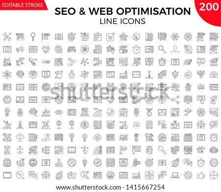 SEO Line Icons Set. Thin Line Icons Set of Search Engine Optimization, Website and APP Design and Development. Simple Line Pictogram Pack. Logo Concept, Web Graphic. Vector icons. Editable Stroke.