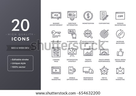 SEO line icons. Vector web development, website and web pages optimization icon set with editable stroke