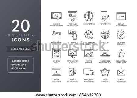 seo line icons vector web