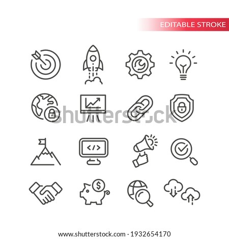 Seo line vector icon set. Search engine optimization, website symbols. Web business outline icons, editable stroke.