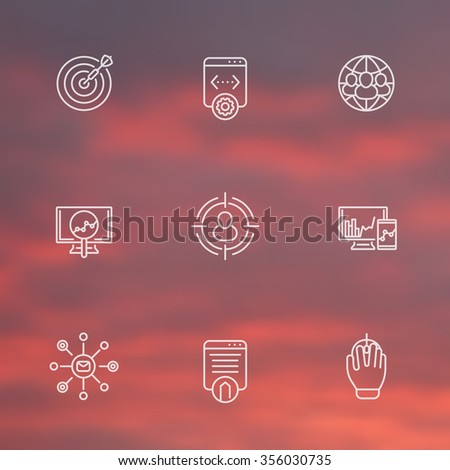 seo line white icons, search engine optimization, seo tools, internet marketing, website indexing, vector illustration