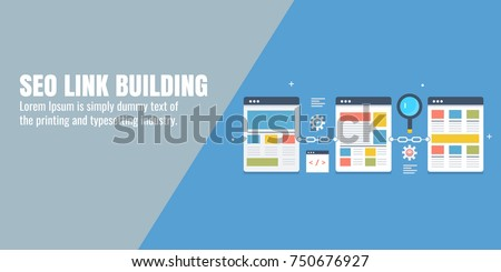 SEO, Link Building, Website optimization flat vector banner concept with icons and elements