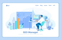 SEO manager, Key management, Content marketing, Site analytics. SEO specialist sitting at the table and choosing the right keywords. Laptop with web page and program code. landing web page template.