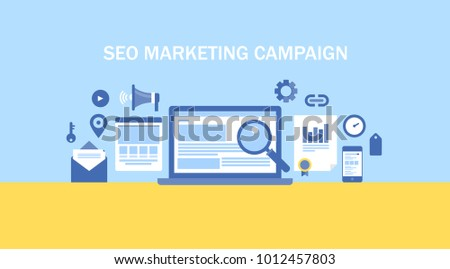 Seo marketing campaign, Business Search engine  optimization, Internet Marketing flat vector banner with icons